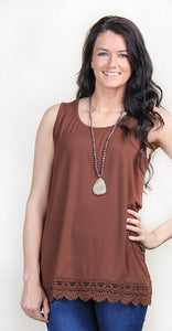 Brown crochet bottom tank with thicker straps.