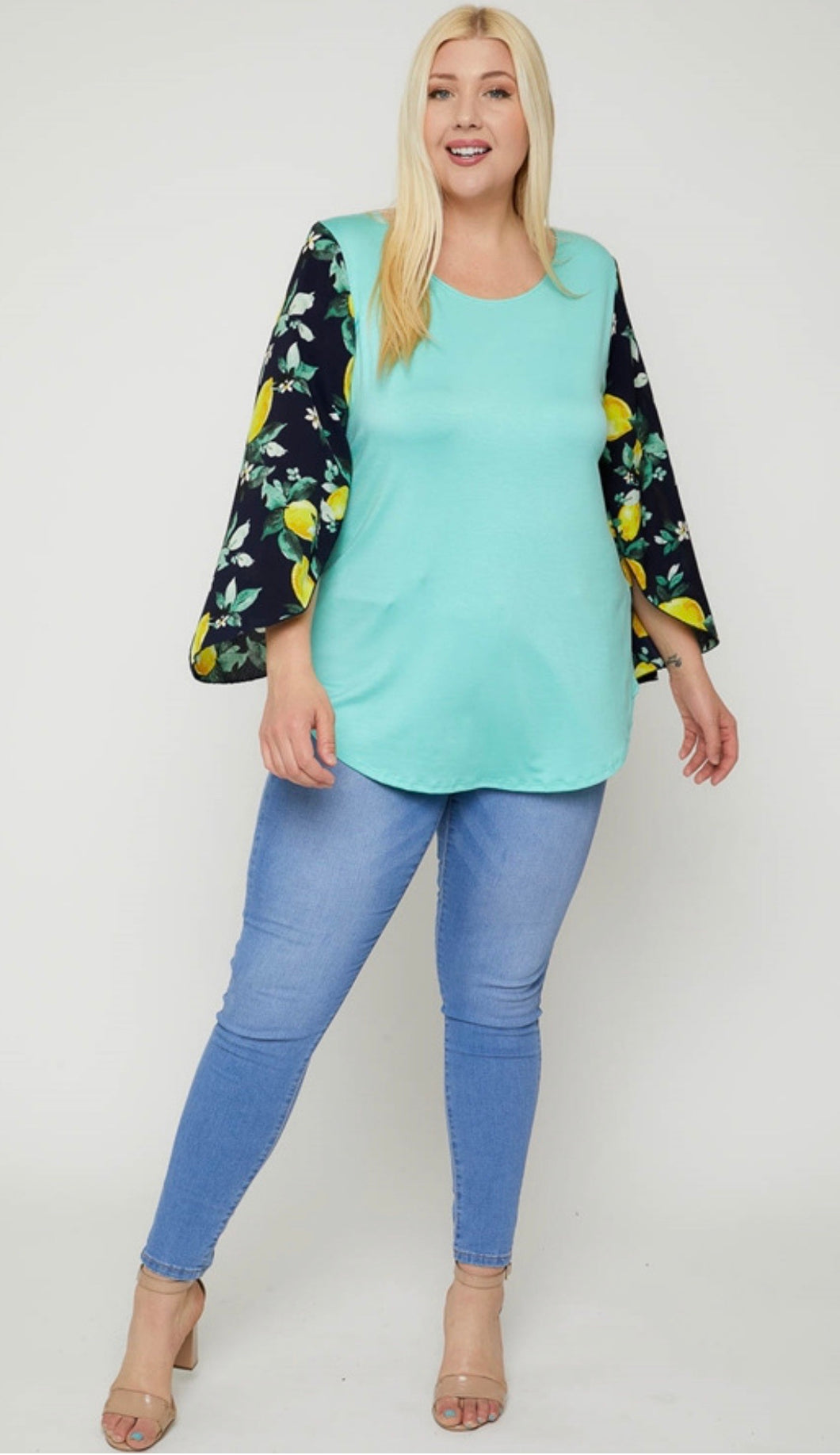 Lemon Print Slit Sleeve Tunic