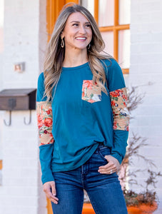 Teal floral pocket T