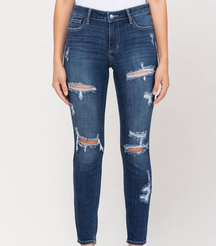 Mid rise Distress crop skinny Dark denim