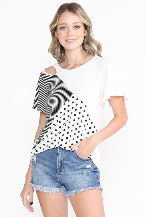 Polka Dot keyhole neck line top