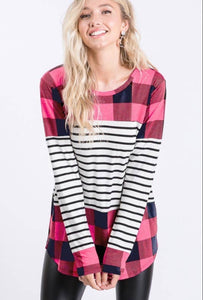 Navy & pink check with black stripes long sleeve top