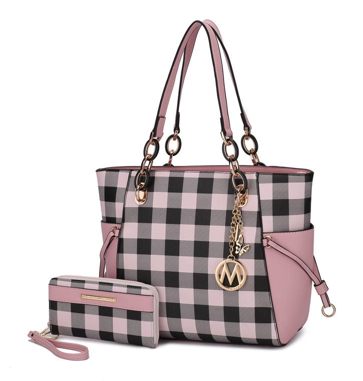 Yale checkered tote bag with matching wallet by MKF by Mia