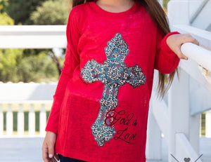 Red girls god is love shirt