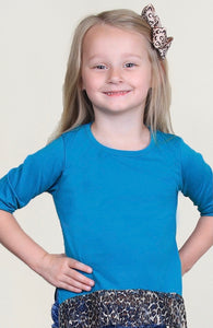 Girls teal cheetah trim top size 10-12yr old