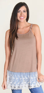 Beige tan tank with lace trim