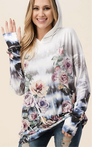 Ivory floral light weight hoodie with thumb hole