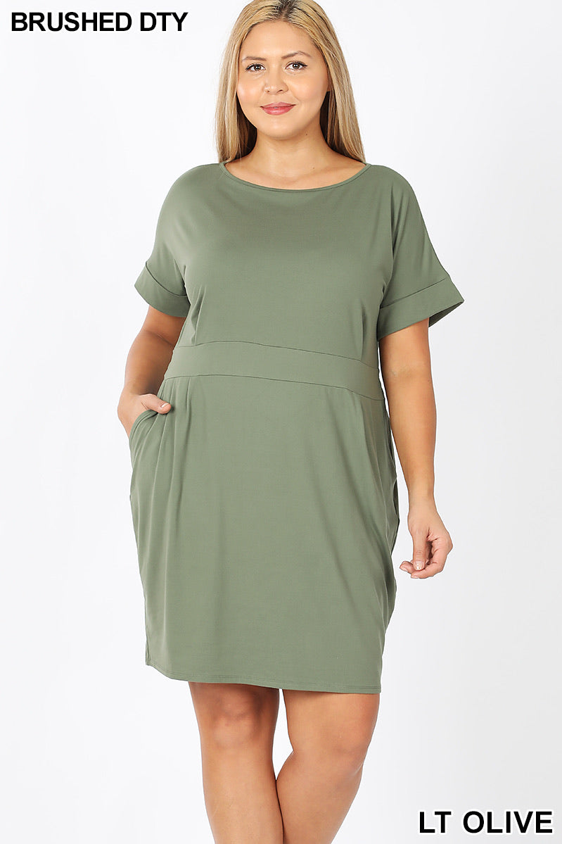 Light olive dress with belt