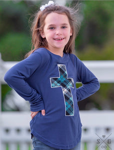 Girls blue plaid cross long sleeve
