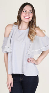 Cold shoulder pin strip top
