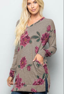 Mocha floral long sleeve top with pockets