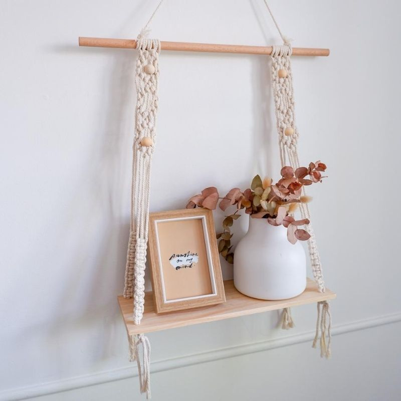 Boho Macramé Wooden Hanging Shelf