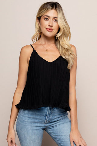 Pleated Cami Black in Black