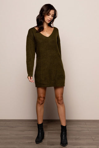Holly Sweater Dress in Olive