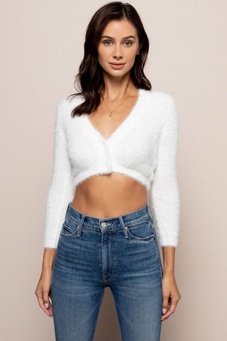 Fawn Cropped Cardigan in White
