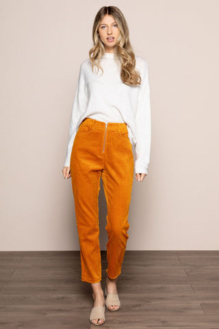Corduroy Pants in Camel in Orange