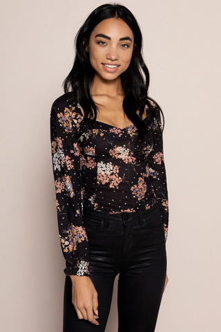 Floral Dreams Sweetheart Top in Black