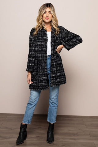 Tweed Long Knit Coat in Black