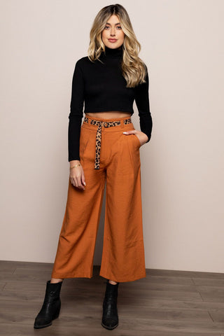 Trouser with Leopard Belt in Brown