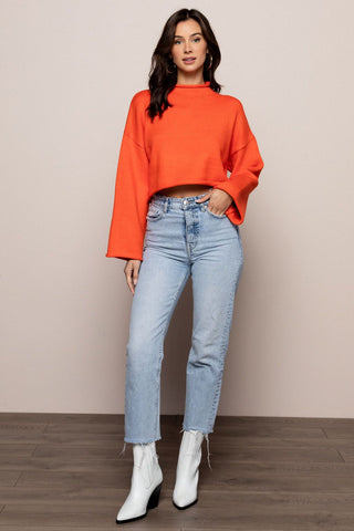 Mock Crop Sweater in Orange