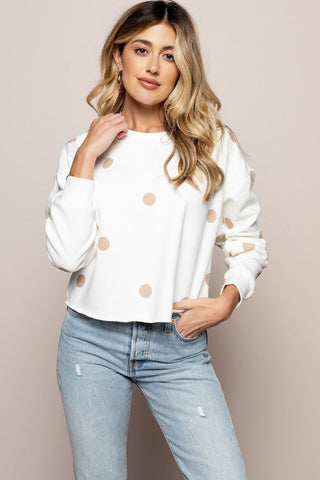 Polka Sweatshirt in Cream