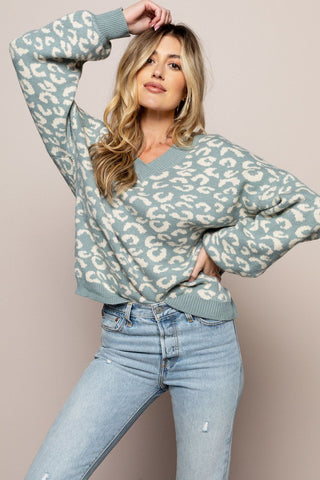 Leopard Pullover Sweater in Blue