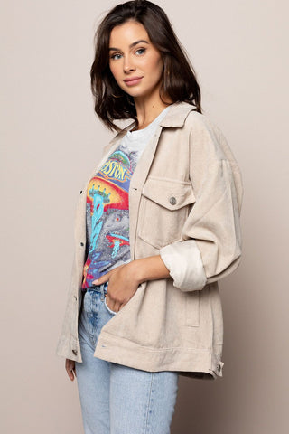 Oversized Corduroy Jacket in Beige