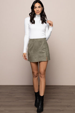 Suede Skirt in Olive