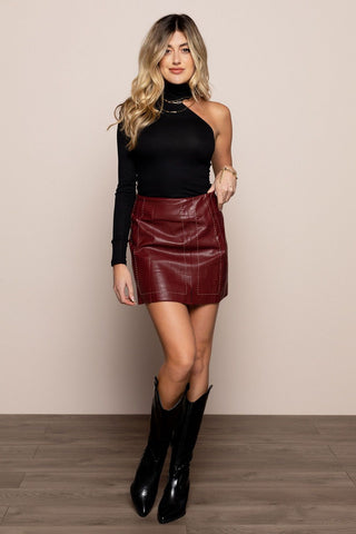 Lucy Leather Skirt in Wine
