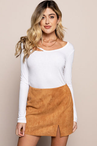 Suede Skirt in Cashew