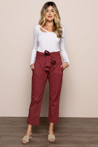 Striped Pants in Burgundy