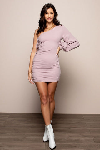 One Shoulder Dress in Lilac