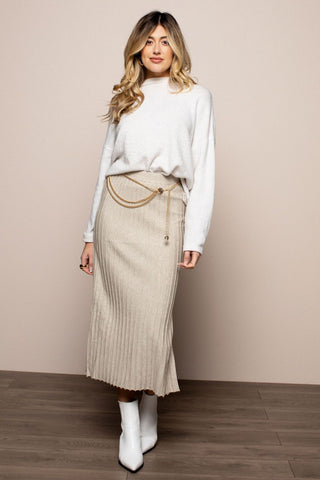 Ribbed Knit Skirt in Beige