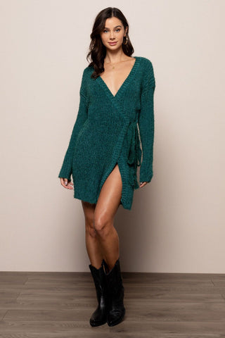 Night Skies Sweater Dress in Green