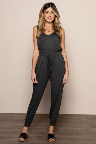 Drawstring Jumpsuit in Charcoal