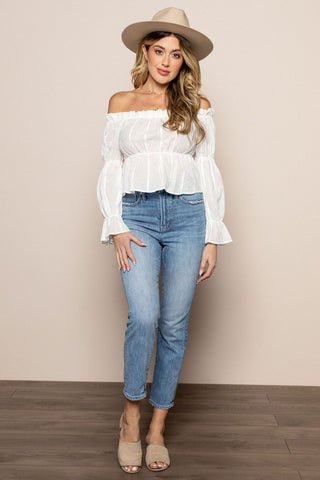 Sol Pleated Top in White