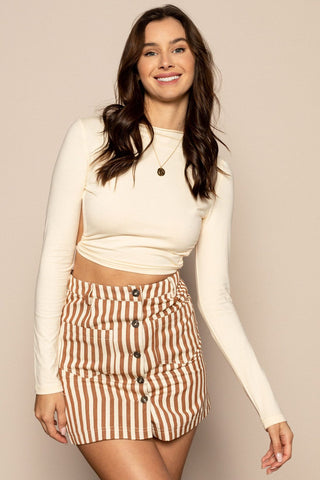 Striped Skirt in Brown