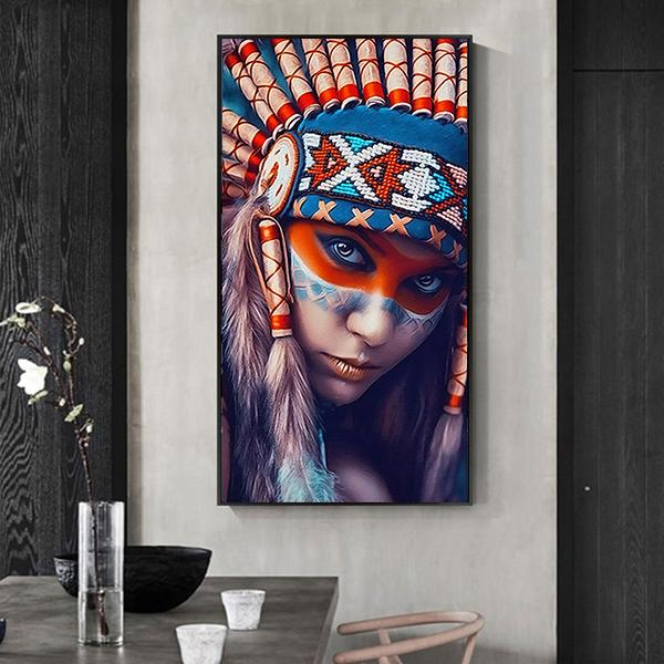 Colorful Indian Feathered Girl Canvas Print Home Decoration Living Room Bedroom Wall Pictures Oil Painting Art