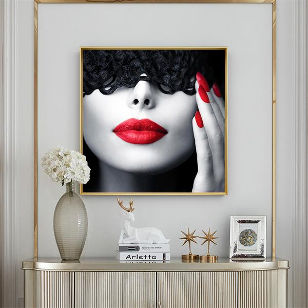 Modern Art Lipstick Woman Canvas Print Home Decoration Living Room Bedroom Wall Poster Oil Painting Art