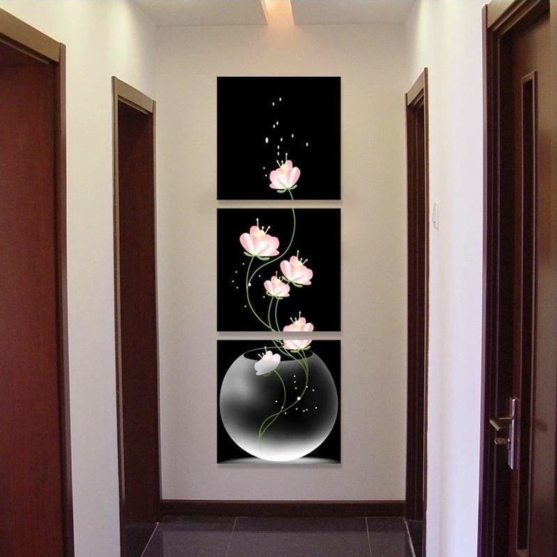 Unframed Vase with Flowers Canvas Material 3PCS Porch Corridor Corridor Frameless Vertical Version Home Decoration Wall Paintings