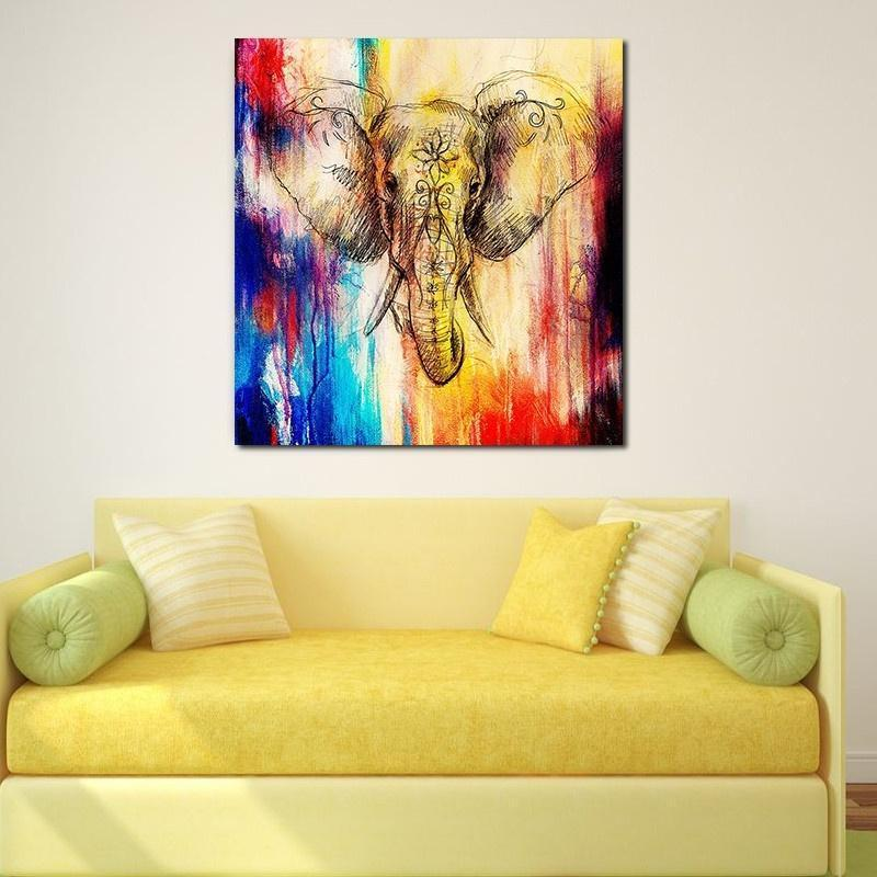 WaterColorful Deer Frameless Canvas Painting Animal Poster Oil Painting Wall Art Wall Pictures for Living Room Home Decoration