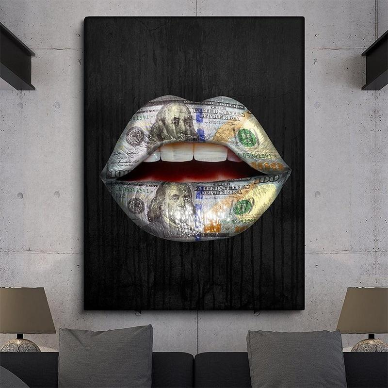 Abstract Graffiti Lips Canvas Painting Art Wall Decor Without Frame
