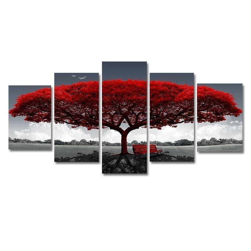 (No Frame) 5 Pieces Picture Tree Canvas Art Print Oil Painting Wall Pictures for Living Room Paintings Home Wall Decor Art Picture