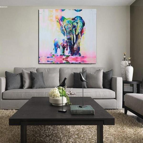 Warm Oil Painting Watercolor Painting HD Photo Print Canvas Unframed: Cuddle Elephant