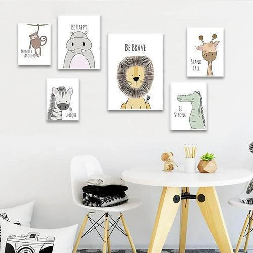 Baby Nursery Wall Art Poster Zebra Lion Canvas Wall Art Print Animal Painting Decorative Picture Nordic Kids Bedroom Decoration
