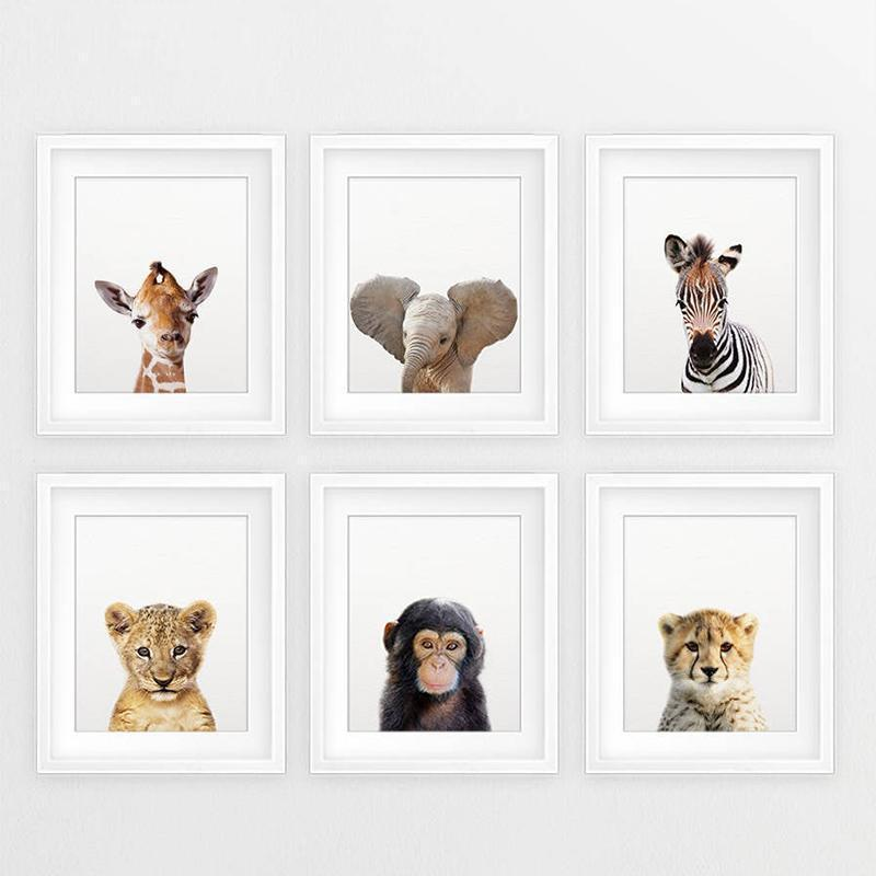 Safari Baby Animals Canvas Poster Nursery Lion Tiger Wall Art Print Modern Animal Painting Nordic Kid Bedroom Decoration Picture