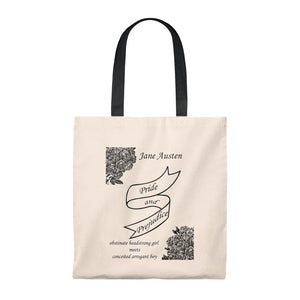 Jane Austen Pride and Prejudice Shoulder Tote Bag - Roomy