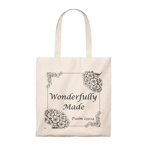 Wonderfullu Made Bible Verse Pslam Cotton Tote Bag - The Modern Vintage Shop T-Shirt