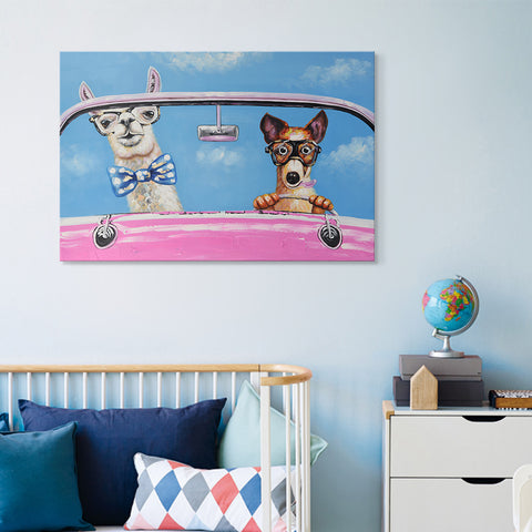 Canvas Wall Art - Cute Lama and Dog in a car