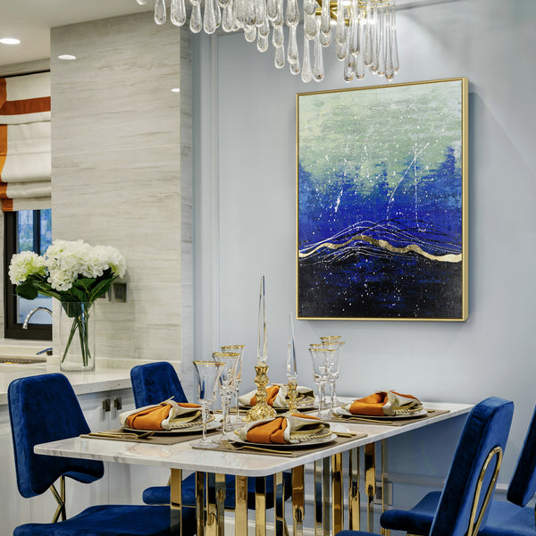 Dining room styled by an abstract hand painted canvas art